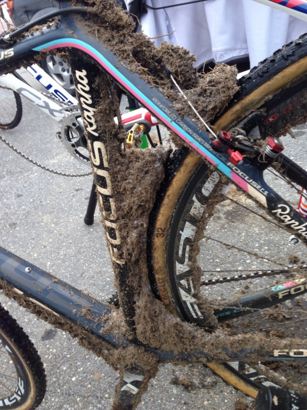 Icy mud after Day 1 at Sterling covering Scott Smith's (JAM Fund / NCC) bike.